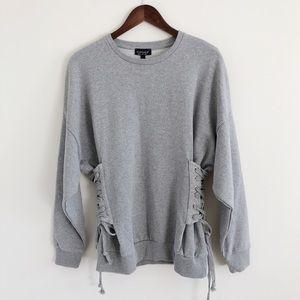 NWT Topshop Gray Corset Side Sweatshirt Size 8